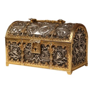 19th Century French Gothic Silvered Bronze Dore Jewelry Box