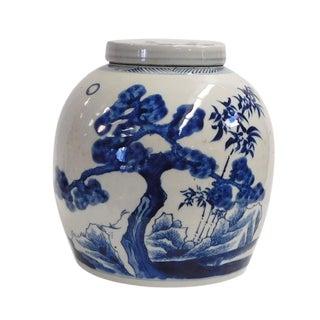 Chinese Handmade Large Blue & White Porcelain Ginger Jar