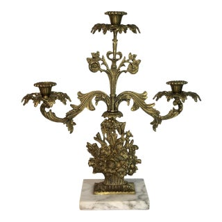 Antique Brass & Marble Candle Holder