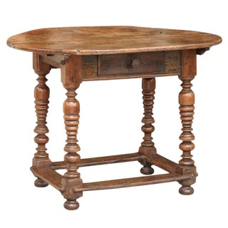 Oval French Early 19th Century Walnut Table with Stretcher and Single Drawer
