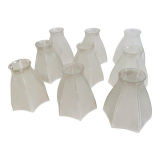 Partial Frosted Antique Glass Shades - Set of 10