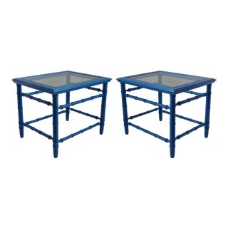 Mid-Century Royal Blue Side Tables - Pair