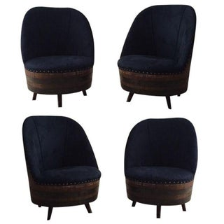 Wine Barrel Swivel Chairs - Set of 4