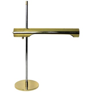 Sleek Brass and Chrome Telescoping Desk Lamp, 1970s