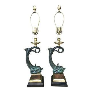 Wildwood Verdi Green Brass & Cast Iron Fish Table Lamps - A Pair