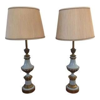 Stiffel Brass & Enamel Lamps - A Pair