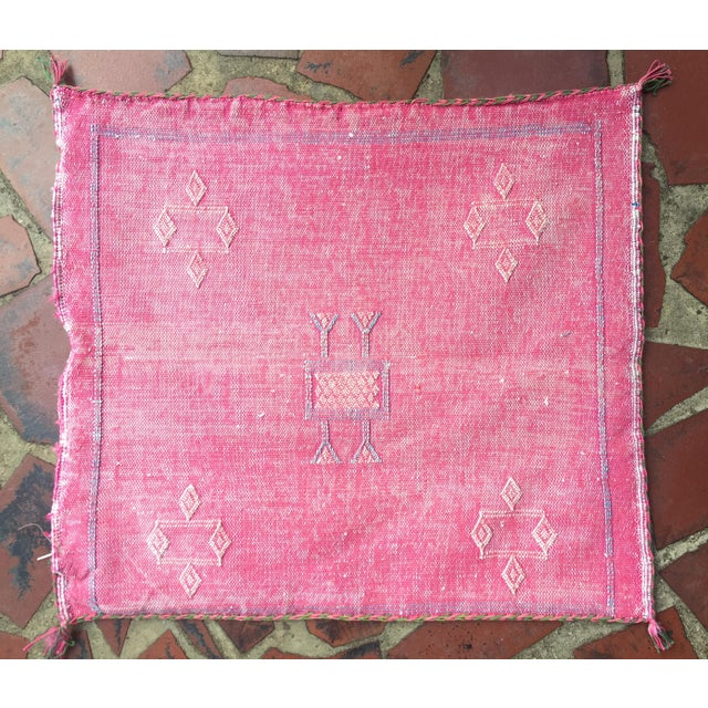 Pink Cactus Silk Moroccan Kilim Pillow Cover - Image 2 of 7
