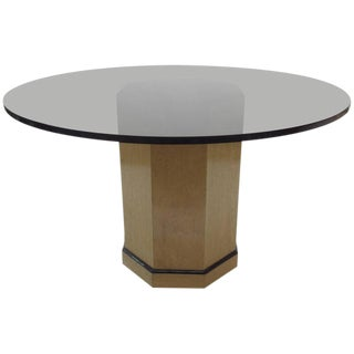 Maple Pedestal Amber Glass Dining Table
