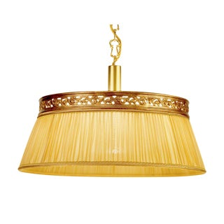 Brass Chandelier Fabric Shade Light