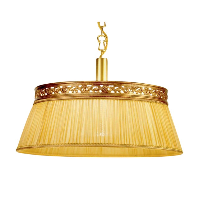Image of Brass Chandelier Fabric Shade Light