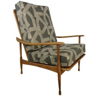 Mid-Century Reupholstered Lounge Chair