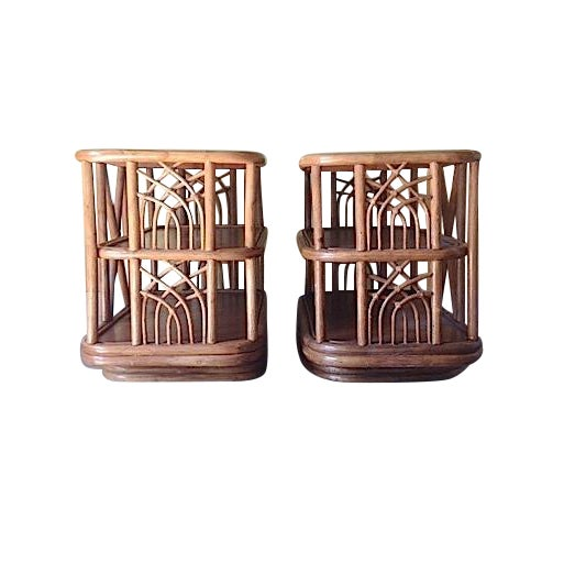 Mid Century Bamboo Swiveling End Table - Pair - Image 1 of 4