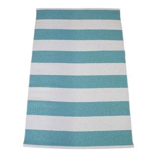 Turquoise & White Stripe Rug - 2′3″ × 3′8″