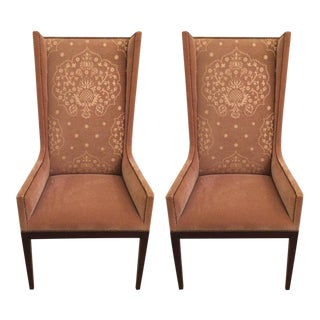 Camel Mohair Wingback Chairs - A Pair