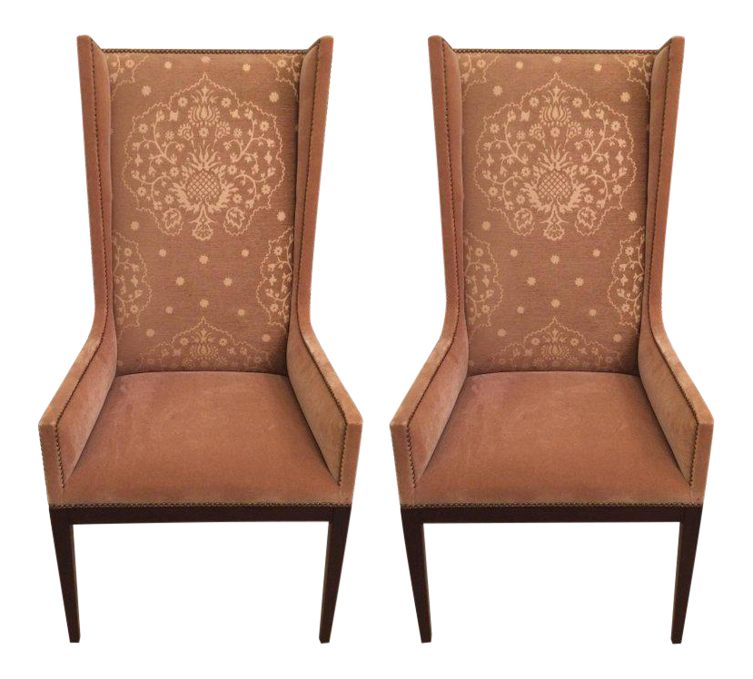 Camel Mohair Wingback Chairs   A Pair