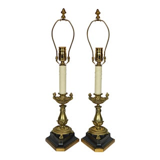 Empire Style French Candlesticks Converted to Lamps - A Pair
