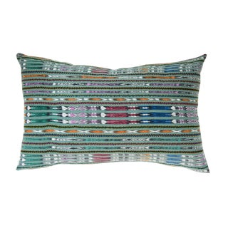 Vintage Guatemalan Green Ikat Pillow