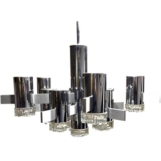 Large Gaetano Sciolari Chrome & Glass Italian 11 Light Ice Cube Chandelier