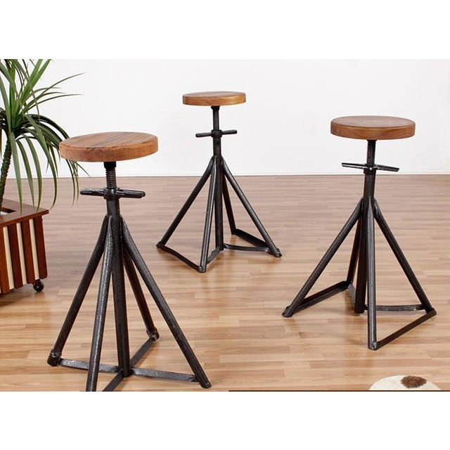 Custom Nautical Teak Bar Stools - Set of 3 - Image 2 of 4