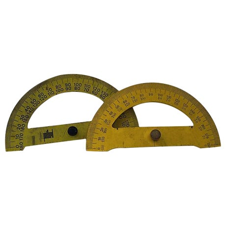 Image of Vintage French Drafting Protractors - A Pair