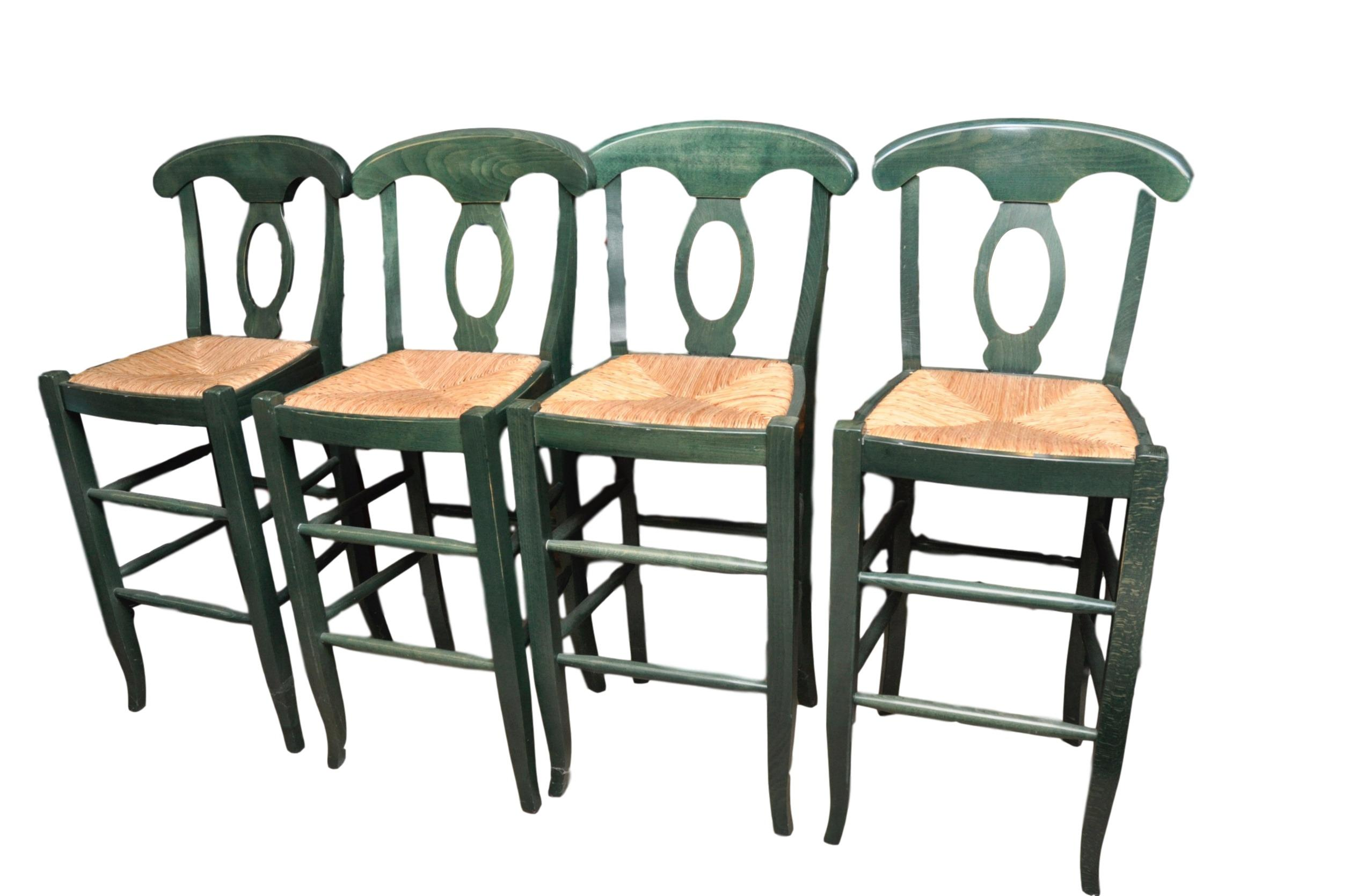 Rush Seat Bar Stools Set Of 4 Chairish