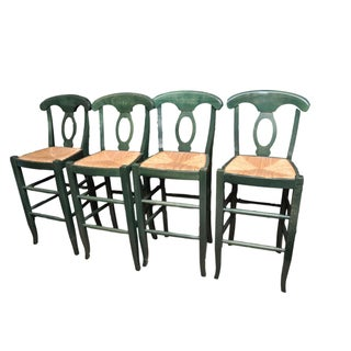 Rush Seat Bar Stools - Set of 4