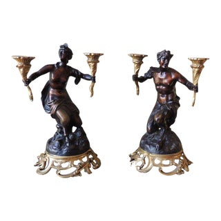 Pair of 18th C French Patinated Bronze Candelabras