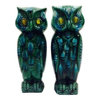 Vintage Japanese Ceramic Owl Vases - Pair