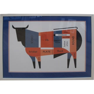 2011 Original Raymond Biesinger Geometric Meat Cut Butcher Chart (Framed)