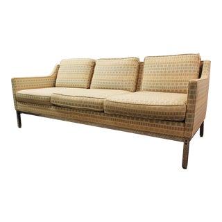 Mid-Century Modern Milo Baughman Style Geometric Pattern Sofa on Chrome Legs