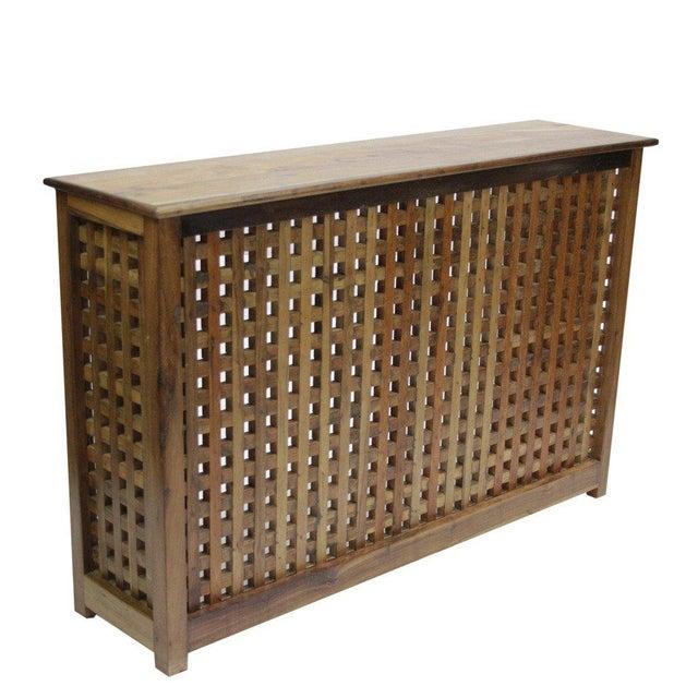 Burma Teak Lattice Console Table - Image 2 of 3
