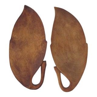 Mid-Century Modern Leaf Serving Plates - A Pair
