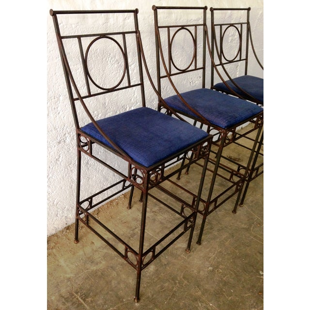 Blue Seat & Wrought Iron Bar Stools - Set of 3 - Image 3 of 6