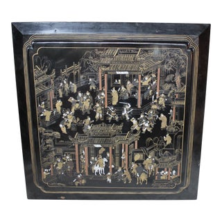 Large Vintage Chinese Black Lacquer Wall Panel