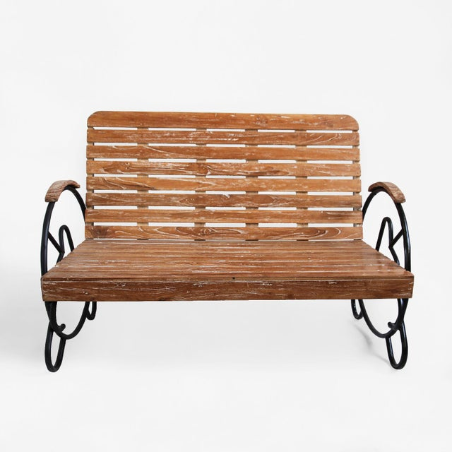 Teak Deco Two-Seater Bench - Image 2 of 5