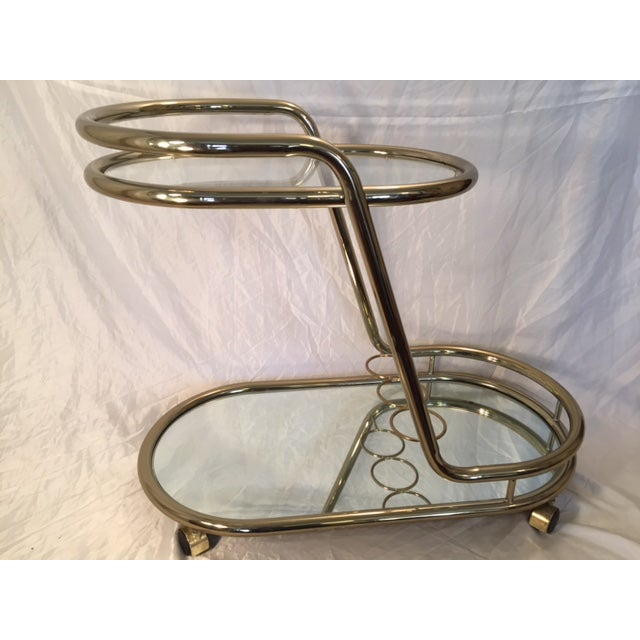 Mid-Century Modern Gold-Toned Bar Cart - Image 2 of 8