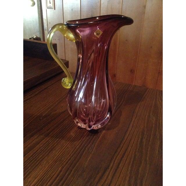 Bohemian Purple & Yellow Glass Handmade Pitcher - Image 4 of 4