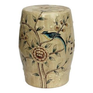 Handmade Beige Porcelain Bird Flower Round Stool Ottoman