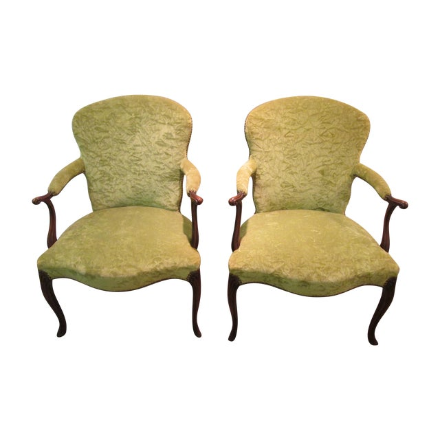 Matching upholstered french arm chairs pair chairish for Matching arm chairs