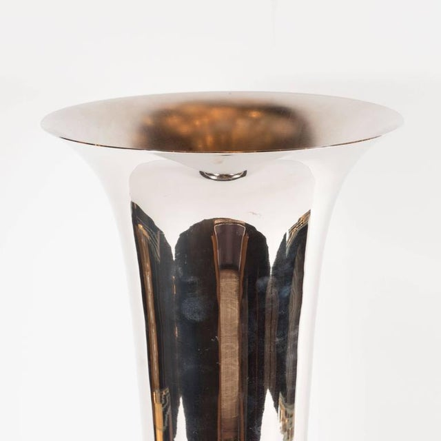 Elegant French Art Deco Marble and Chrome Uplights - Image 5 of 7