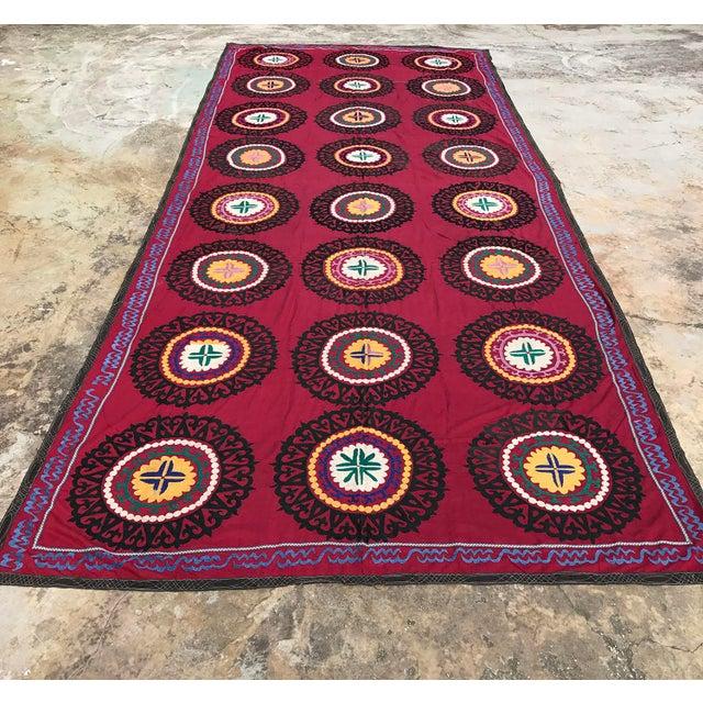 Oversized Vintage Suzani Tapestry - 14.8 x 6' - Image 2 of 6