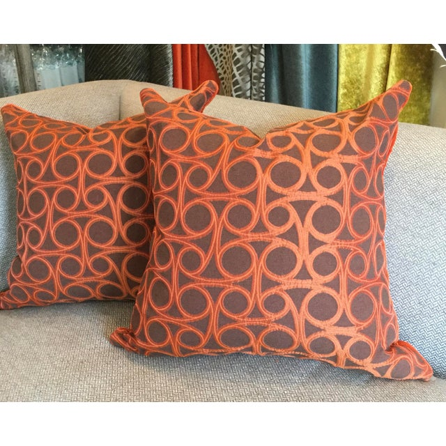 Kravet Orange Circle Jacquard/Pollack Orange Silk Velvet Pillows - a Pair - Image 3 of 8