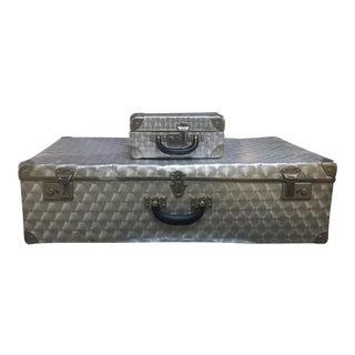 Mid-Century Industrial Aluminum Suitcases - A Pair