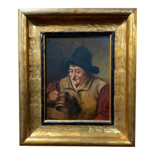 19th Century Dutch Stein Drinker Oil Painting