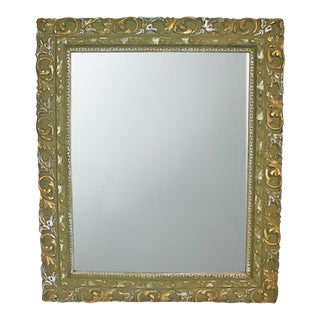 Olive Painted Antique Mirror