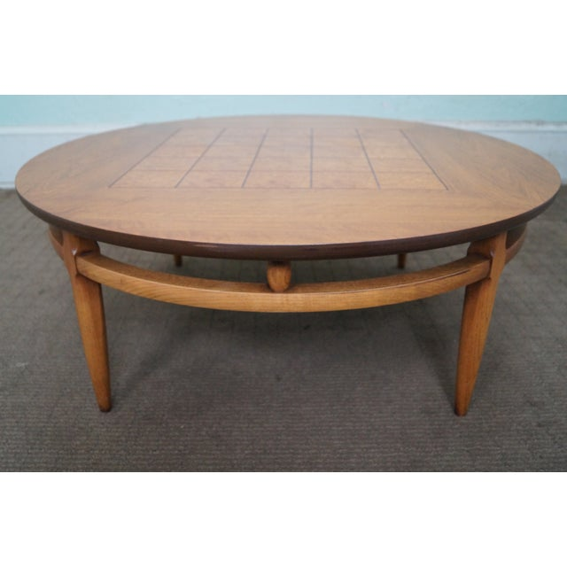 Lane Mid-Century Round Burl Walnut Coffee Table