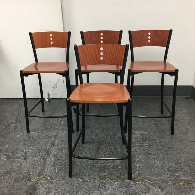 Contemporary Wood & Metal Counter Stools - Set of 4 - Image 2 of 8