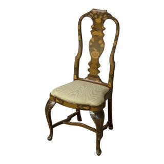 Vintage Sarreid Ltd Queen Anne Style Oak Floral Dining Chairs- Set of 4