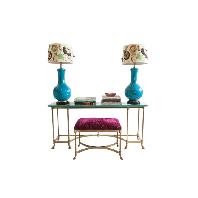 Vintage Baker Glass Topped Library Table and Bench - Image 2 of 4