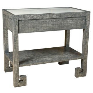 Paul Marra Greek Key Nightstand in Custom Finish and Inset